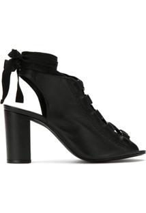Schutz Ankle Boot Com Amarração - Preto