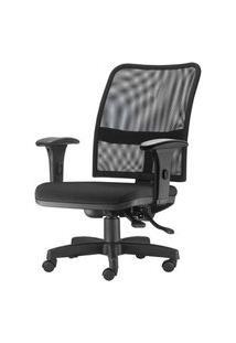 Cadeira Soul Assento Courissimo Preto Braco Curvado Base Metalica Com Capa - 54217 Preto
