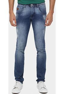 Calça Jeans Biotipo Skinny Stone Marmorizado Puídos - Masculino