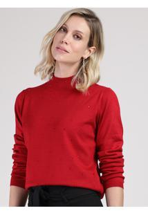 Suéter Feminino Em Tricô Com Strass Gola Alta Vermelho