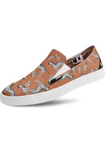 Tênis Usthemp Slip-On Vegano Casual Estampa Dálmata Laranja