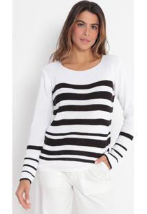 Blusa Em Tricô Listrada- Off White & Pretavip Reserva