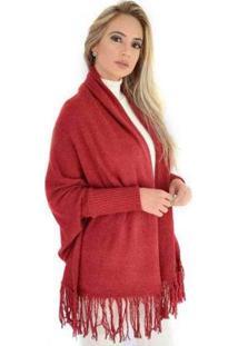 Casaco Livora Capa Kimono Tricot Franjas Feminina - Feminino-Vermelho