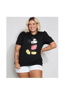 Camiseta Feminina Plus Size Mickey Manga Curta Bufante Decote Redondo Preta