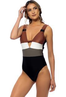 Body Kalini Beachwear Trie Marsala Preto