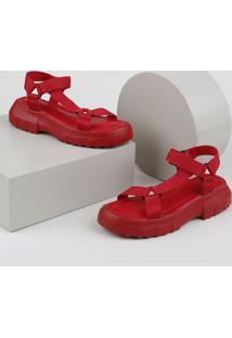 Papete Feminina Oneself Flatform Tratorada Com Velcro Vermelha
