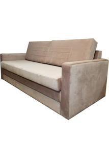 Sofa Cama Fox Com 3 Lugares Assento Veludo Rosa Base Madeira Cor Castanho - 50384 Sun House