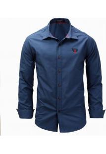 Camisa Masculina Casual Manga Longa - Azul Escuro