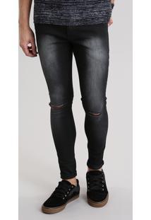 Calça Jeans Super Skinny Destroyed Preta