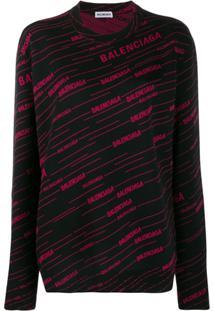 Balenciaga Suéter Diagonal Com Logo - Preto
