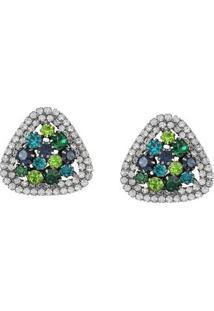 Brinco Gota Com Pedras Tudo Joias Com Zircônias - Feminino-Verde