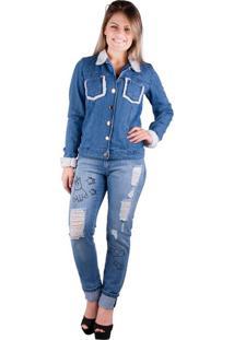 Jaqueta Jeans Banna Hanna Detalhe Em Pelo Azul G