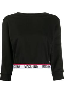Moschino Blusa De Moletom Cropped Com Logo - Preto