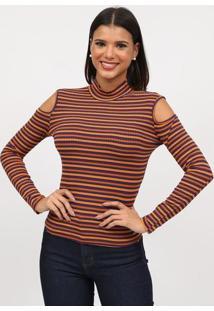 Blusa Canelada Listrada Com Vazados- Amarelo Escuro & Aztriton