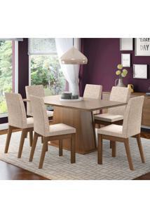 Conjunto Sala De Jantar Madesa Milena Mesa Tampo De Vidro Com 6 Cadeiras