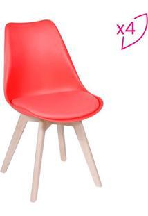 Jogo De Cadeiras Modesti- Vermelho & Bege- 4Pã§S-Or Design