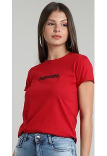 "Blusa Feminina ""Esgotada"" Manga Curta Decote Redondo Vermelha"