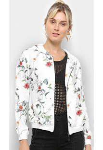 Jaqueta Heli Floral Capuz Feminina - Feminino-Branco
