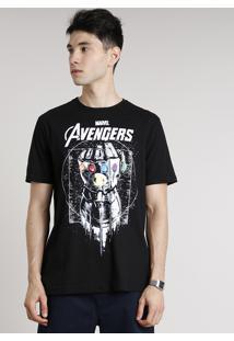 Camiseta Masculina Os Vingadores Manopla Manga Curta Gola Careca Preta