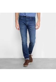 Calça Jeans Slim Fit Lacoste Estonada Masculina - Masculino-Azul