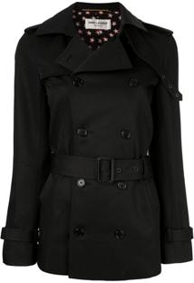 Saint Laurent Trench Coat Acinturado - Preto
