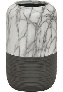 Vaso Marmorizado- Branco & Cinza Escuro- 20,8Xã˜12,5Cbtc Decor