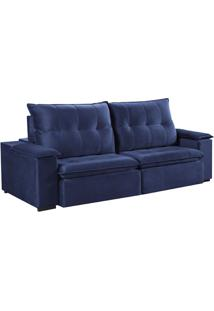 Sofá 3 Lugares Retrátil E Reclinável Pinheiros Veludo Azul 230 Cm