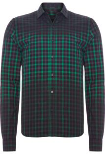 Camisa Masculina Spray Dye Meteor Check Slim - Verde