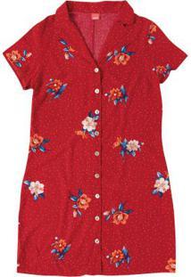 Vestido Vermelho Estampado Com Botões