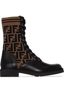 Fendi Ankle Boot De Couro Com Logo - Preto