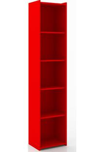 Estante Com 4 Prateleiras 206 Biblioteca Retrô - Movelbento - Vermelho
