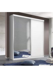 Guarda Roupa Solteiro Com Espelho 2 Portas De Correr 2 Gavetas Salvador Plus Siena Móveis Branco