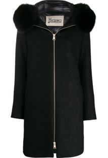 Herno Hooded Felt Coat - Preto