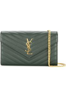 Saint Laurent Monogram Chain Wallet - Verde