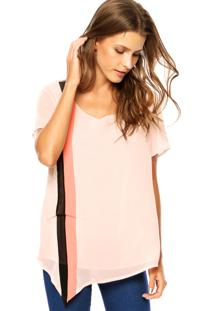 Blusa Cia De Moda Crepe Silk Rosa
