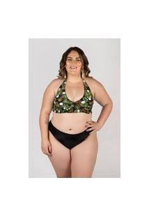 Biquíni Meeloo Plus Size Hot Pants E Sutiã Babado No Cós Estampa Poá