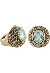Anel Armazem Rr Bijoux Cristais Pedra Azul Claro