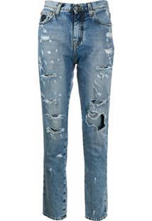 John Richmond Calça Jeans Cintura Alta Com Efeito Destroyed - Azul