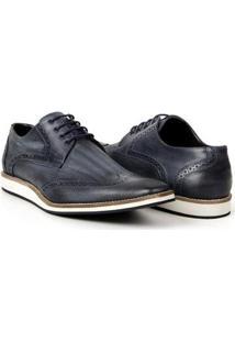 Sapato Casual Bigioni Estonado Couro Masculino - Masculino-Marinho
