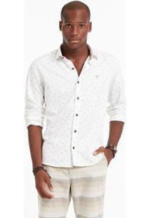 Camisa Ml Docthos Micro Floral - Masculino-Branco