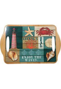 Bandeja Em Cerâmica Deep Sea Beach- Bege & Verde- 0,Full Fit