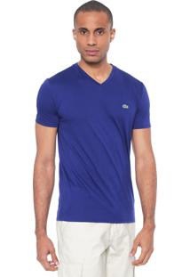 Camiseta Lacoste Regular Fit Gola V Azul