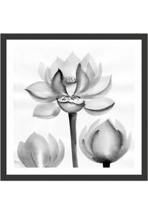 Quadro Decorativo Com Moldura Floral I Preto 50X50 Cm