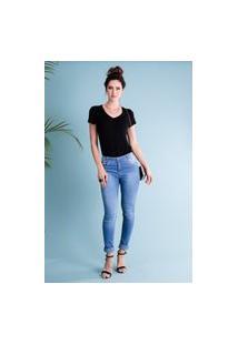 Calça Jeans Skinny Estonada 5 Bolsos Azul Claro Traymon 1077