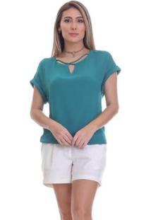 Blusa Clara Arruda Decote Cruzado Feminina - Feminino-Verde