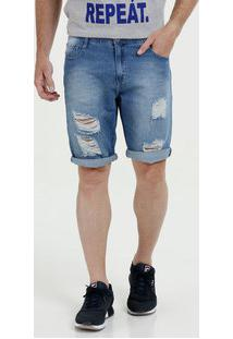 Bermuda Masculina Jeans Destroyed Mr