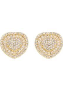 Brinco Aea Coração Luxo Zircônias Brancas Folheado Ouro 18K - Feminino-Dourado