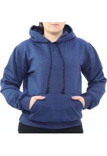 Blusa Moletom Capuz Cordão Bolso Flanela Feminina - Feminino-Azul Escuro