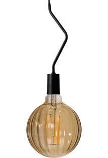 Pendente Preto Com Lâmpada Decorativa Filamento Led Moranga Âmbar G100 Sl2793 Toplux - Kanui