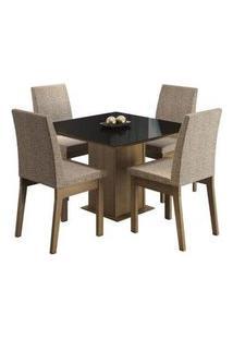 Conjunto Sala De Jantar Madesa Gaia Mesa Tampo De Vidro Com 4 Cadeiras Rustic/Preto/Fendi Rustic/Preto/Fendi